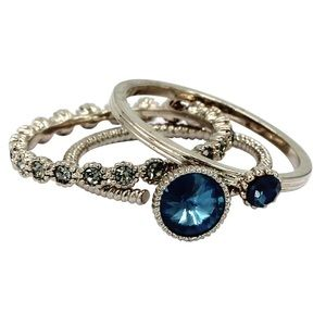 Fashion blue crystal assemble ring